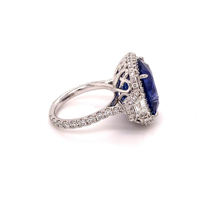 Cushion Cut 18.33 Carat Ceylon Unheated Sapphire Ring For Sale