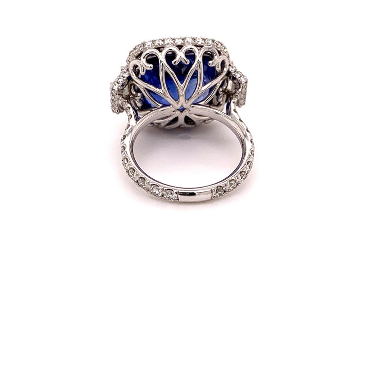 Women's or Men's 18.33 Carat Ceylon Unheated Sapphire Ring For Sale