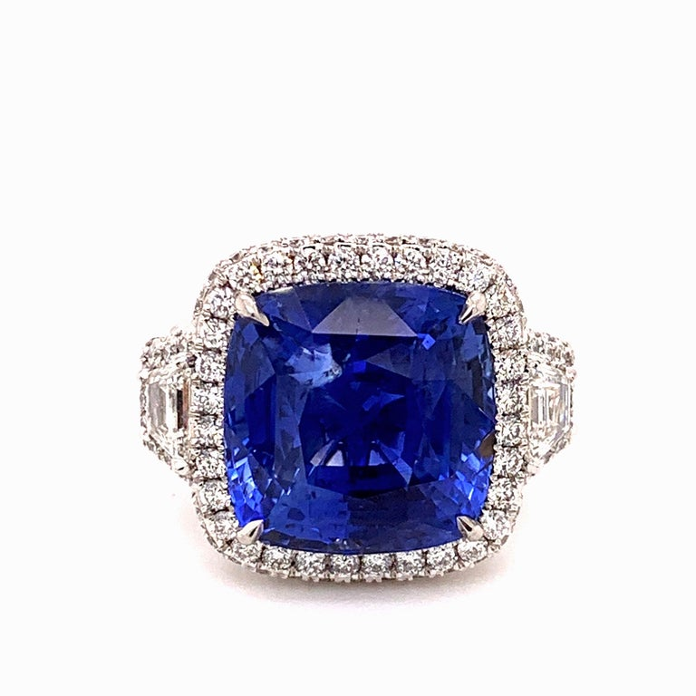 18.33 Carat Ceylon Unheated Sapphire Ring For Sale 1