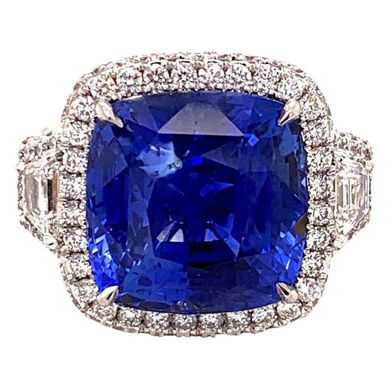 18.33 Carat Ceylon Unheated Sapphire Ring For Sale