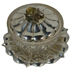 1833 William IV Sterling Silver and Glass Butter Bowl Dish and Plate