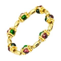18.34 Carat Chrome Tourmaline Rubellite Diamond 18 Karat Yellow Gold Bracelet