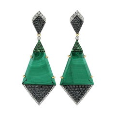 18.35 Carat Malachite Tsavorite Diamond 18 Karat Gold Earrings