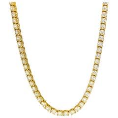 18.37 Carat 14 Karat Yellow Gold Diamond Tennis Necklace