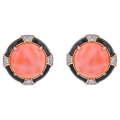 18.37 Carat Coral Diamond Black Enamel 18 Karat Yellow Gold Earrings