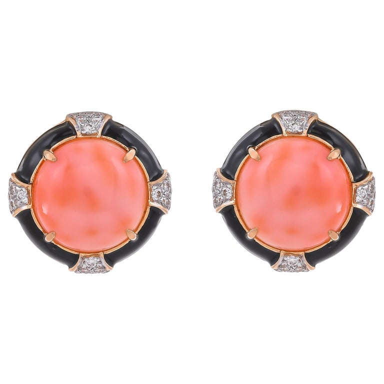 18.37 Carat Coral Diamond Black Enamel 18 Karat Yellow Gold Earrings For Sale