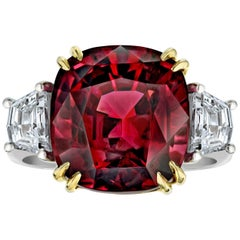 18.37 Carat Cushion Red Spinel and Diamond Platinum and 18 Karat Ring