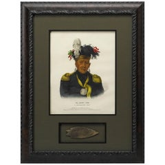 1838 Wa Baun See, A Pottawatomie Chief Lithograph with Antique Arrowhead