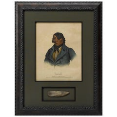 1838 Waa-Pa-Shaw A Sioux Chief Hand-Colored Lithograph and Antique Arrowhead