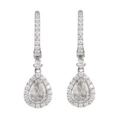 1.83ct Upside-Down Old Mind Pear Diamond Drop Earrings with Halo 18k White Gold