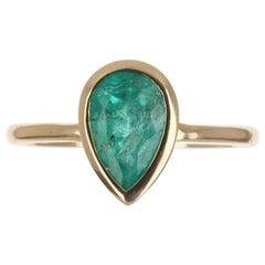 1.83tcw 14K Colombian Emerald Pear Cut Bezel Solitaire Ring