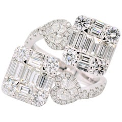 1.84 Carat Baguette, Pear Shape & Round Diamond Heart Shaped Ring 18 Karat Gold