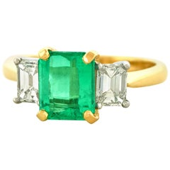 1.84 Carat Colombian Emerald and Diamond Set of Gold Ring GIA