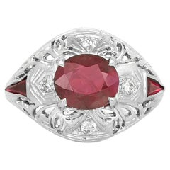 1.84 Carat Cushion Cut Ruby and Diamond Ring