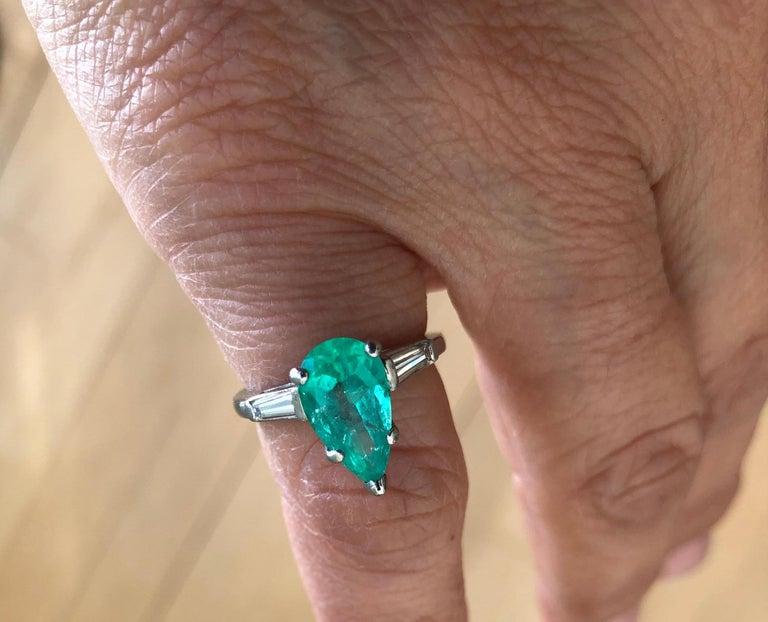 Art Deco Emerald Diamond Engagement Platinum Ring Three-Stone Pear Shape For Sale