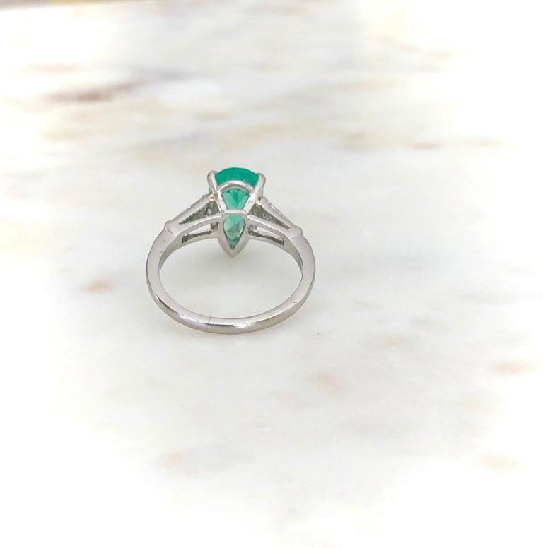 Women's Emerald Diamond Engagement Platinum Ring Three-Stone Pear Shape For Sale