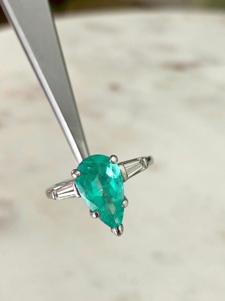 Emerald Diamond Engagement Platinum Ring Three-Stone Pear Shape For Sale 3
