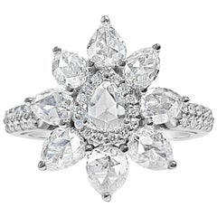 1.84 Carat Pear Shaped Rose Cut Diamond Ring with Round Brilliant Diamonds, 18K
