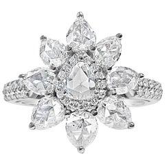 1.84 Carat Pear Shaped Rose Cut Diamond Ring with Round Brilliant Diamonds, 18K