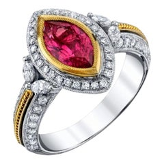 1.84 Carat Pink Spinel Marquise Diamond White Yellow Gold Cocktail Ring