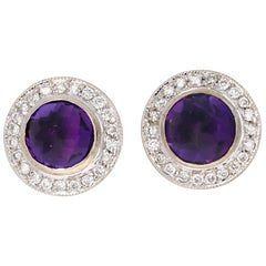 1.84 Carat Round Cut Amethyst Diamond 14 Karat White Gold Earring Studs