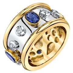 1.84 Carat Sapphire & Diamond, White, Yellow Gold Bezel Set Eternity Band Ring