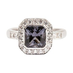 1.84 Carat Square Cut Bright Grey Spinel and Diamond 18 Carat Gold Halo Ring