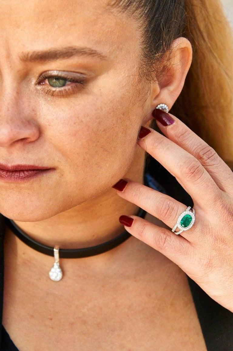 1.84 Carat Zambian Emerald Diamond Palladium Cocktail Ring For Sale 2