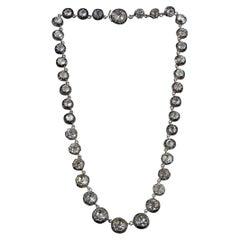 "1840 ca. 925 Silver Riviera Antique Necklace with ""paste"""