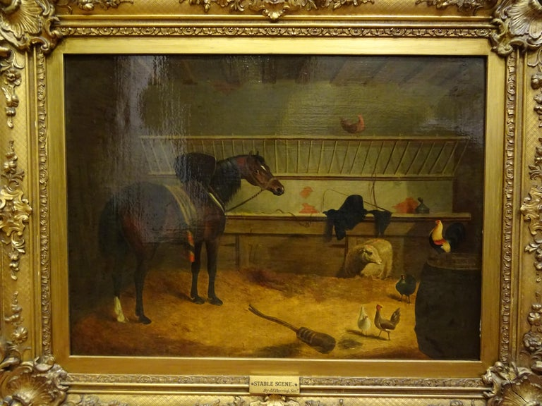 A stunning o/canvas by Jhon Frederick Herring Senior, circa 1840, signed and with a label from Cardiff in the back of the work of art. Carved and golded original frame.