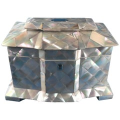 1840 Mother of pearl break front twin lidded tea caddy in superb condition