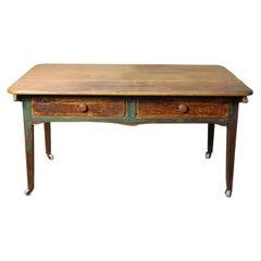 1840 Pine Pegged Top Original Farm Work Table