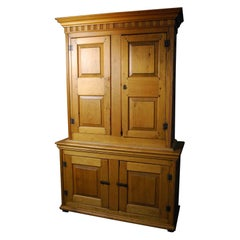 1840 Quebec Formal Country Pine Multi Panel Stepback Cupboard
