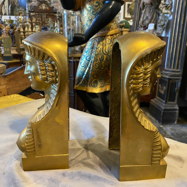 1840 Retour d'Egypt Set of two Antique Gilded Bronze Italian Sphinxes For Sale 5