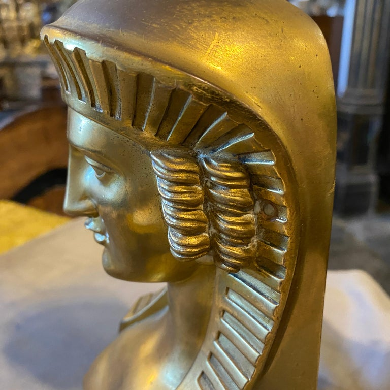 1840 Retour d'Egypt Set of two Antique Gilded Bronze Italian Sphinxes For Sale 6