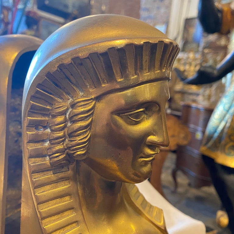 1840 Retour d'Egypt Set of two Antique Gilded Bronze Italian Sphinxes For Sale 7