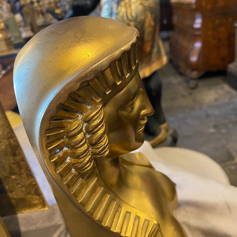 1840 Retour d'Egypt Set of two Antique Gilded Bronze Italian Sphinxes For Sale 8