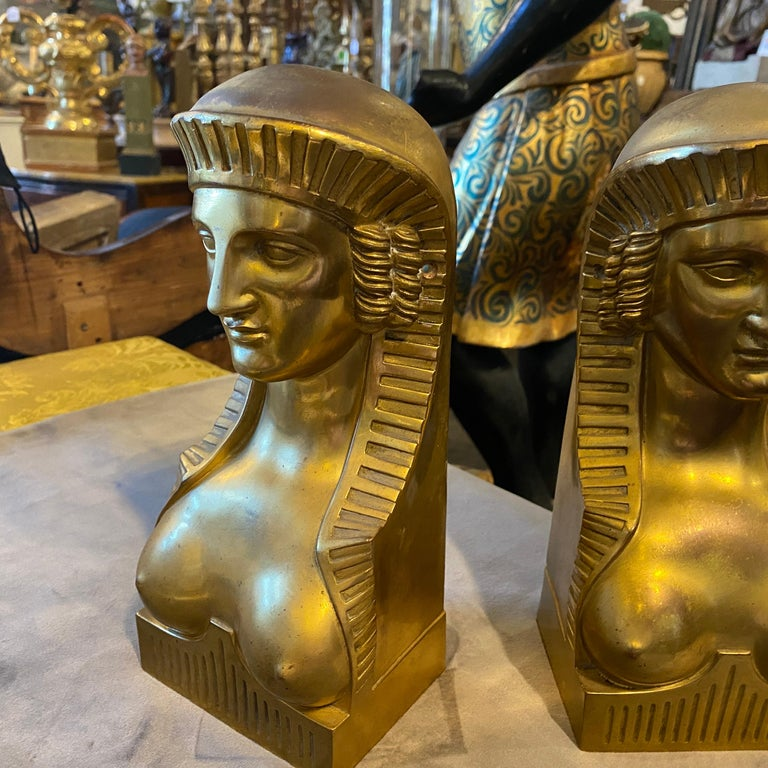 Amazing pair of gilded bronze figures, probably they were mounted on a very big furniture. They can be used as bookends or decorative elements.