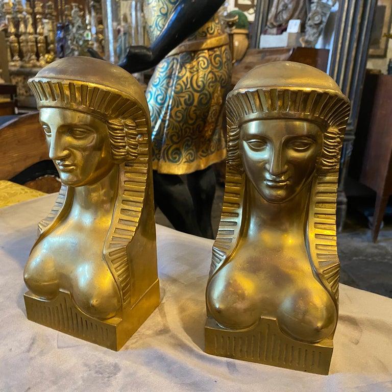 Empire Revival 1840 Retour d'Egypt Set of two Antique Gilded Bronze Italian Sphinxes For Sale