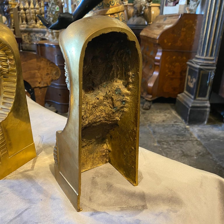 1840 Retour d'Egypt Set of two Antique Gilded Bronze Italian Sphinxes In Good Condition For Sale In Aci Castello, IT