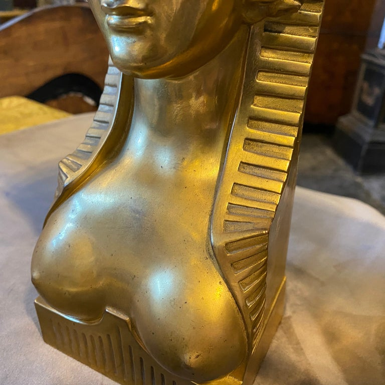1840 Retour d'Egypt Set of two Antique Gilded Bronze Italian Sphinxes For Sale 2
