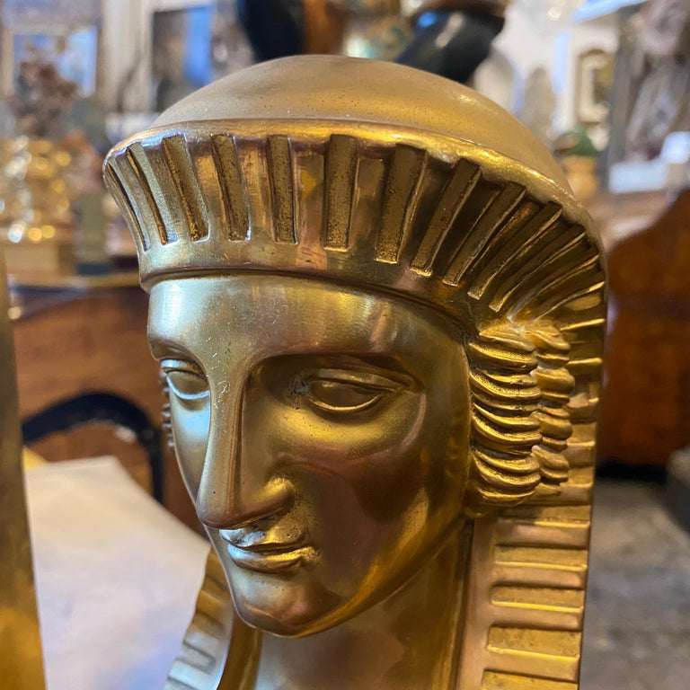 1840 Retour d'Egypt Set of two Antique Gilded Bronze Italian Sphinxes For Sale 3