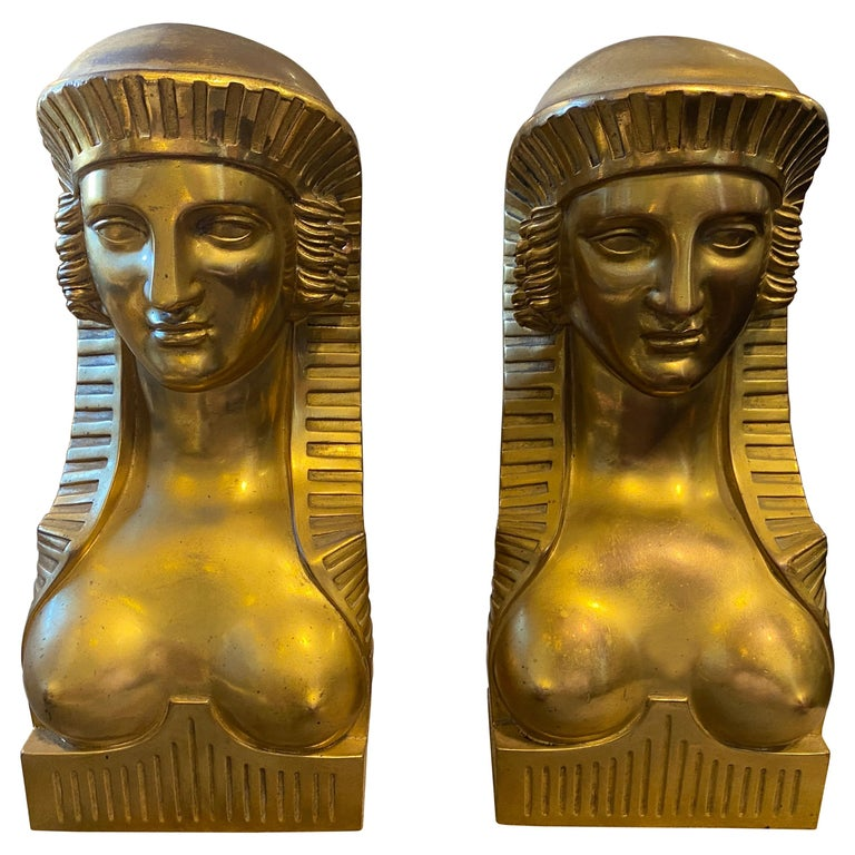 1840 Retour d'Egypt Set of two Antique Gilded Bronze Italian Sphinxes For Sale