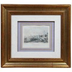 "1840 Thomas Allom Steel Engraving ""Quay of Louis XVIII"" Bordeaux, France"