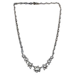 1840s 925 Silver and 18 Kt White Gold Necklace with Rose Cut Diamonds