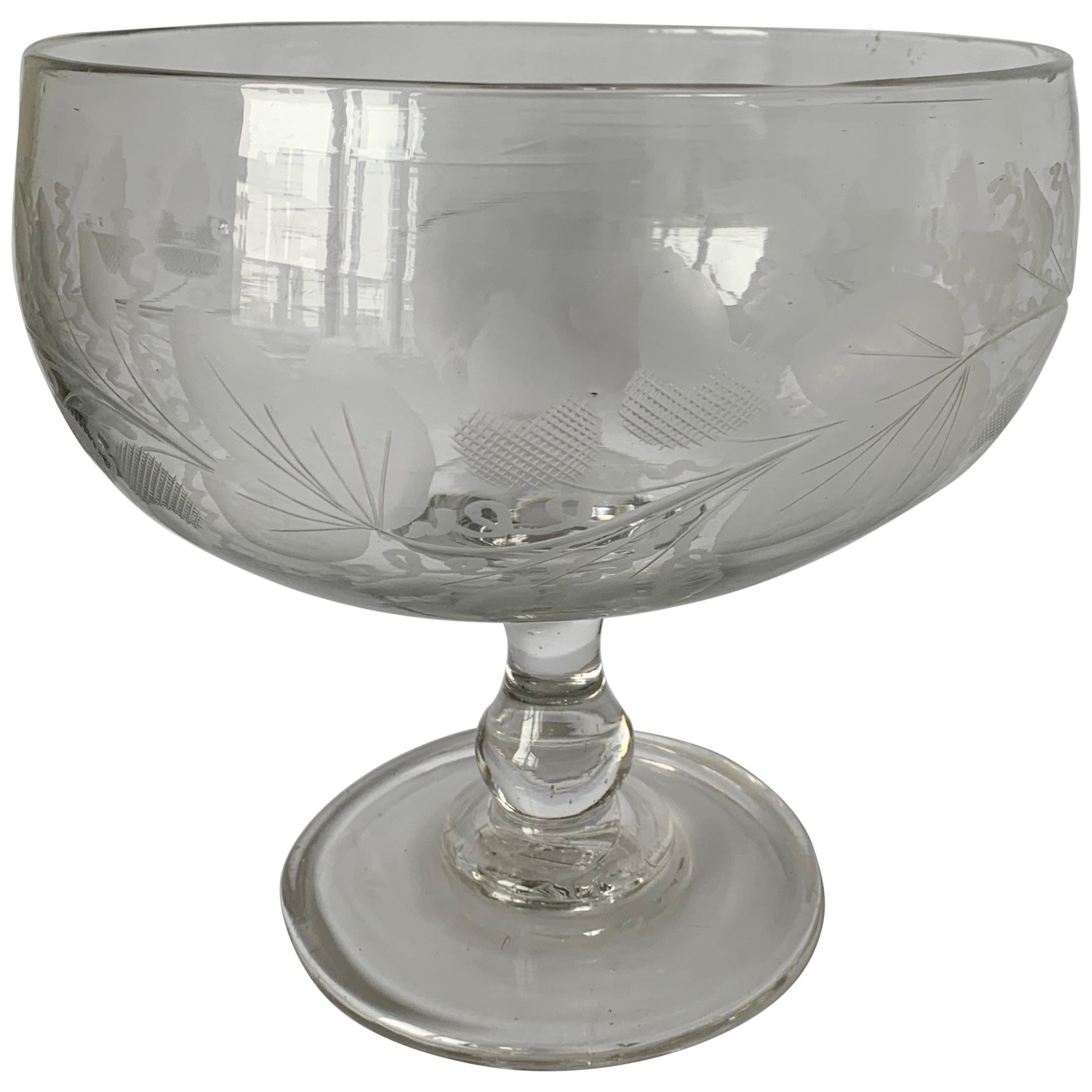 1840s Antique American Engraved Lead Blown Glass Footed Compote