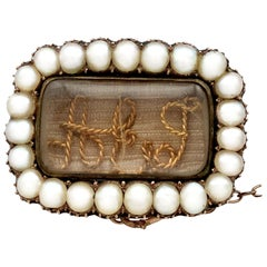 1840s Antique Pearl and Yellow Gold Memorial Brooch