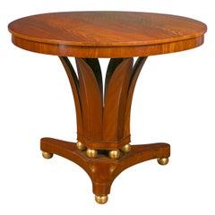 1840s Austrian Biedermeier Walnut Table with Foliage Base and Gilt Spheres