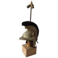 1840s French Fireman's Helmet Lamp on Base