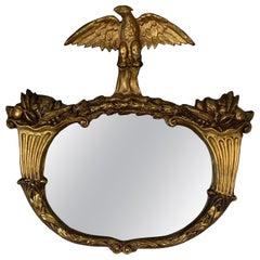 1840s Period Giltwood and Gesso Americana Mirror with Eagle & Cornucopia Design